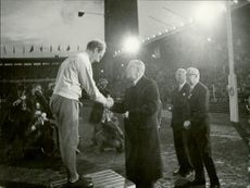 The Swedish Olympic Gert Fredriksson is celebrated by the king