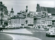 The Castle Square in the Old Town of Warsaw, in the center is the King Sigismund Column, 1981.