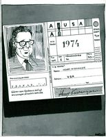 Signed travel certificate with caricature representing Henry Kissinger