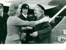 Clementine Churchill being greeted by her daughter Sarah.