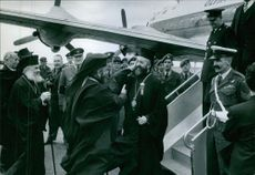 Makarios III gets a warm greeting upon his arrival at the airport. 1959.