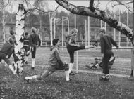 Football team Hammarby IF warms up before match