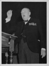 Winston Churchill waving.