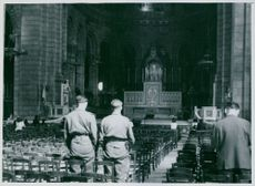 A scene at Mass in the Church of the Sacred Heart. Paris February 9, 1944