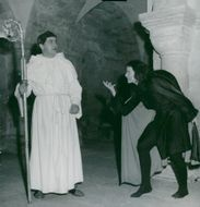 Lund Cathedral 800 years. Henrik Dyfverman as Laurentius and Mait Johnsson as Evil in Karl Ragnar Gierows Cathedral Play