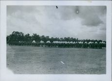 Colonial troops marching in the field.