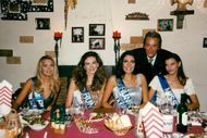 Actor Alain Delon together with four of the participants in Miss Europe 1997