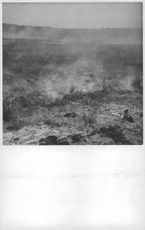 War damage, prairie and cornfields in Hangofronten, Finland on fire ignited by Russian fire bombs, 1941.