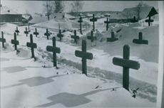 War damages German soldier cemetery on the north eastern front. 1943