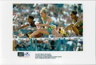 Lynda Goode, Ludmila Engquist and Gillian Russel in the second round of 100 meter hedge during the Olympic Games in Atlanta 1996