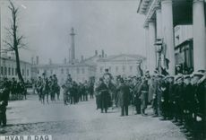 Soldiers in formation outside St. Petersburg during the Russo-Japanese War 1904-1905