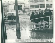 Floods 1966-1989:Schoolchildren marooned on higher ground.