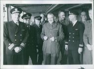 American Naval Officers come aboard to pay a formal visit to Brigadier Potts O/C Expedition before his departure. 1941.