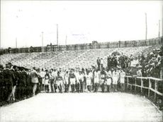 Competitors get ready for a race during the Olympics