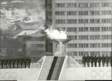 Sanda Dubravcic lit the Olympic Fire at the opening of the Winter Olympics in 1984.