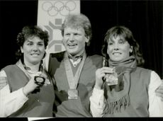 The Alpine Swiss Skiers Michela Fingi, Peter Muller and Maria Walliser, all medals at the OS in Sarajevo.