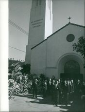 A funeral service in St. Stephen's Episcopal Church, 1959.