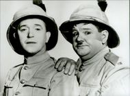 Stan Laurel and Oliver Hardy in their role characters Halvan and Helan.