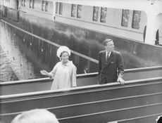 Princess Margaret and Lord Snowdon disembarking the Royal Yacht HMS Britannia on returning from their honeymoon.