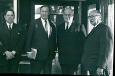 Pictured at the Festival of Education are, left to right, Mr. W.J Hayden, chairman of Norfolk County Council, Dr. H.G Hudson, chairman of the Education Committee, Lord Boyle and Dr. F Lincoln Ralphs.