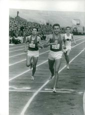 Michel Bernard (2nd) and Michel Jazy (1st) during Olympics.