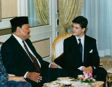 The son of King Agong of Malaysia and Prince Philip during the state visit in Malaysia.