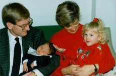 Carl Bildt with husband Mia, daughter Gunnel and 5 days old Nils