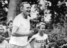 George Bush enjoying a jog in Lazeinki Park.