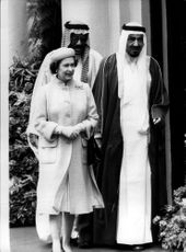 King Khaled with Queen Elizabeth after arriving in London