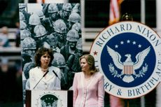 Richard Nixon's daughters Julie Eisenhower and Tricia Cox are talking about the release of the new Nixon stamp