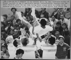 The Swedish national team celebrates Mikael Pernfors after winning the Davis Cup