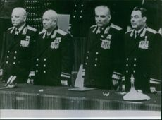 Former Soviet defense minister military commander Rodion Malinovsky is standing with other military commanders