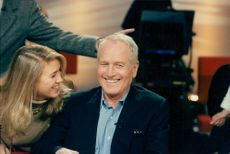 """Actor Paul Newman and his youngest daughter Claire practice Paul's involvement in the French television program """"La Marche du Siecle"""""""
