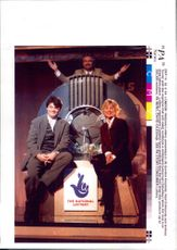 Gordon Kennedy and Noel Edmonds and Anthea Turner during lottery draw.