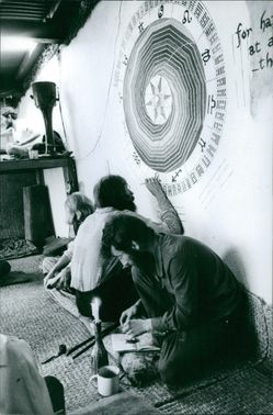 A man drawing on the wall. March 26, 1979