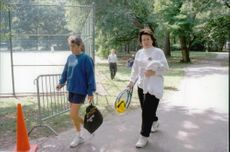 Tennis veteran Billie Jean King on his way to a training session in Central Park.