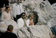Actress Sharon Stone and make Phil Bronstein on romantic walk at Eden Roc