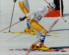 Per Elofsson starts on the third stretch of the relay 4x10 km. Sweden finished fourth.