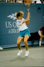 Action shot on Patty Schneider taken during the match where she defeated Steffi Graf, Germany, in the US Open.
