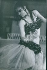 Indian princess Amina Roshan photographed dancing. 1962.