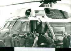 President Richard Nixon is boarding helicopter at Heathrow Airport for travel to Checkers