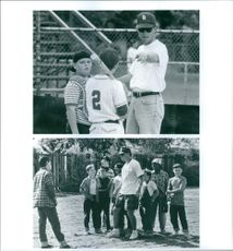 Two scenes of  a screenwriter and film director  David Mickey Evans from the film The Sandlot. 1993