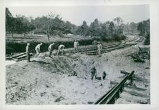 U.S. TROOPS RECONSTRUCT FRENCH RAILROAD 1944