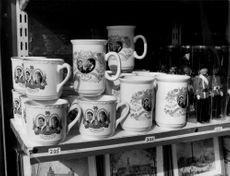 Souvenir shop with porcelain buns with portraits of Prince Andrew and Sarah Fergusson, in memory of their wedding