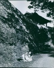 A Japanese woman siting and posing on the road beside cliff.