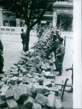 Soldiers making barricade, during the war in Algeria on February 2, 1960.