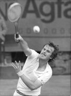 Wojtek Fibak in action during the Davis Cup in 1977