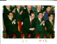 Jiang Zemin Former General Secretary of the Communist Party of China with foreign minister qian qic and premir li peng.