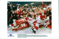 Detroit Redwings after winning the Stanley Cup. Mike Vernon celebrates with a cigar