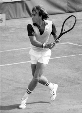Australian tennis player John Alexander in action